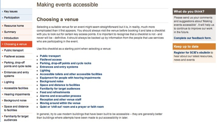 Screenshot of Making Events Accessible: Choosing a Venue webpage