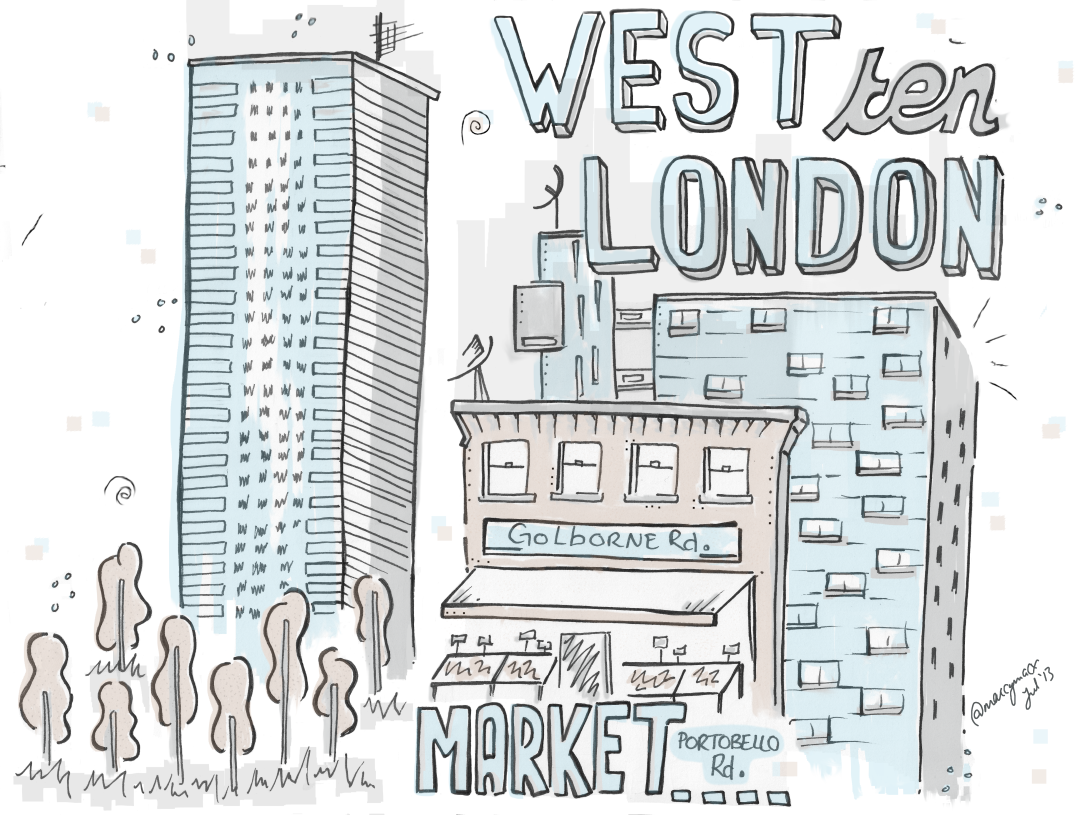 """Experimenting with mixed media sketchnotes """"West 10 London Travelogue"""""""