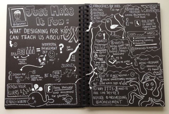 "Sketchnotes for O'Reilly Webcast ""Just Make It Fun: What Designing For Kids Can Teach Us About User Experience"" talk by Debra Gelman - Drawn by Makayla Lewis"