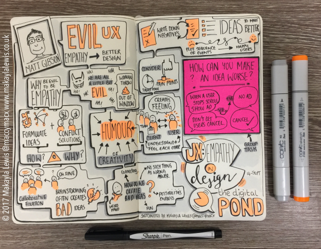 Sketchnotes from Digital Pond UK 'Evil UX - Create better user experiences through evil thinking' talk by Matt Gibson (drawn by Makayla Lewis)