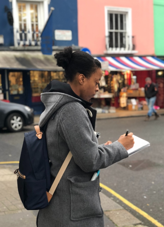Makayla Sketching on a street in London W10