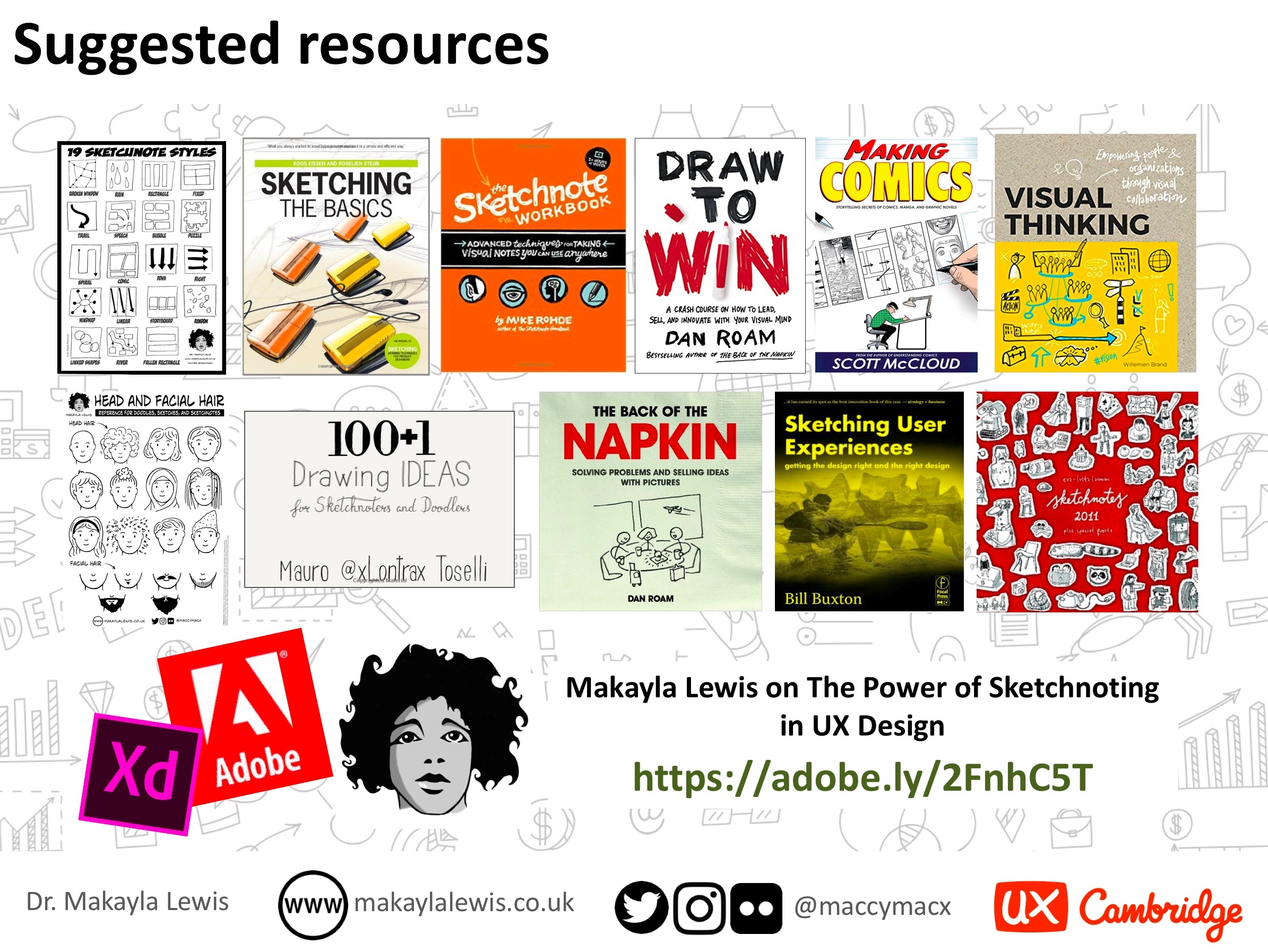 UX Cambridge 2018: Sketchnotes in UX Design cheat sheet and
