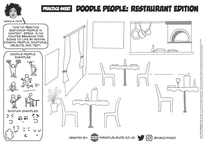 Line drawing of a restaurant with no people