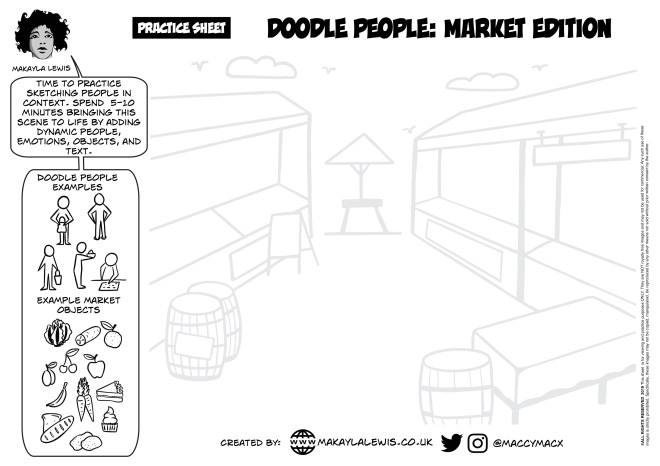 Empty hand drawn market