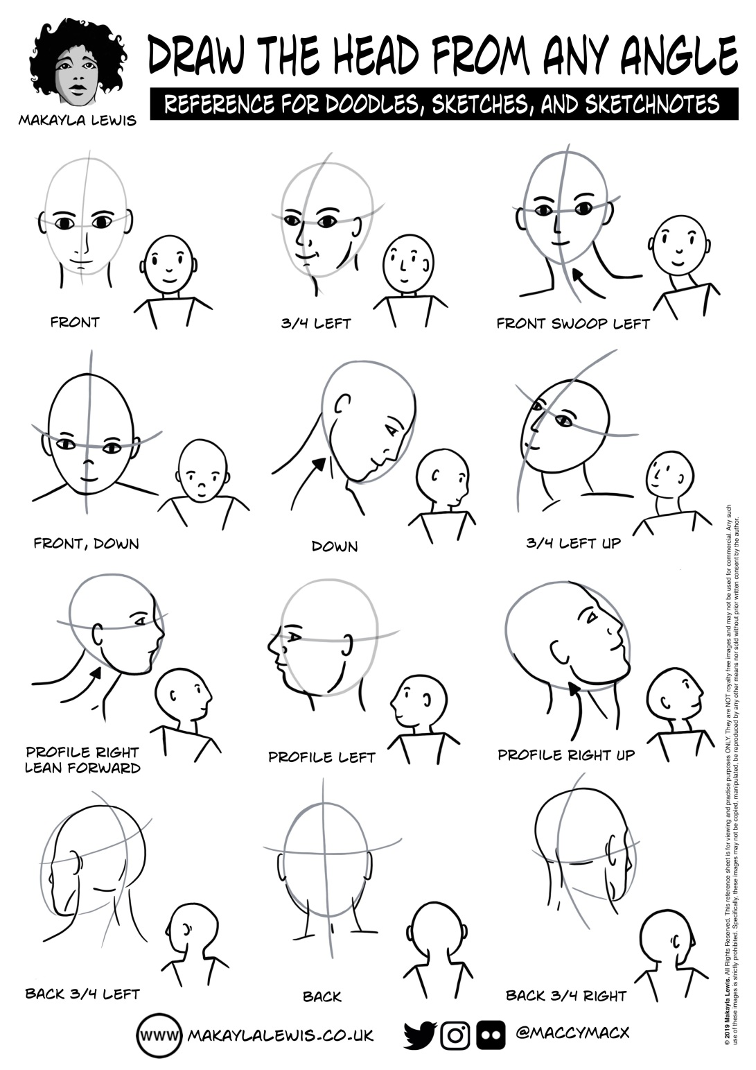 Hand drawing of 24 heads looking in various directions, 12 detailed and 12 doodled