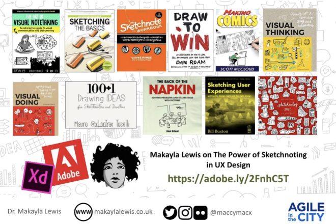 List of sketchnoting books taken from Makayla Lewis adobe blog interview https://theblog.adobe.com/makayla-lewis-power-sketchnoting-ux-design/